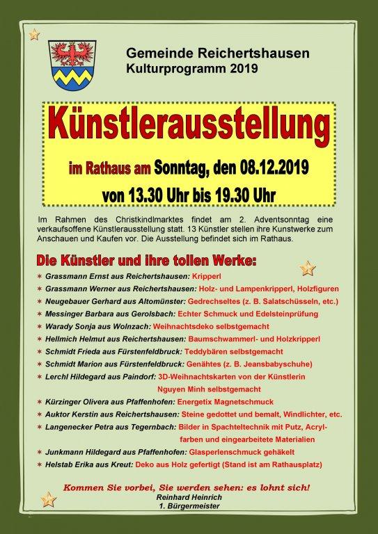 Christkindlmarkt Reichertshausen Künsterausstellung