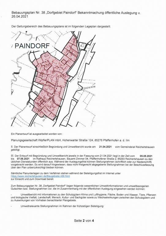BP Nr. 38 Dorfgebiet Paindorf Bekanntmachung Seite 2